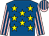Royal blue, yellow stars, pink and royal blue striped sleeves and cap (Hadrian's Warriors)