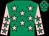 Emerald green, pink stars, pink sleeves, emerald green stars (Mr Jim Furlong)