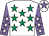 White, emerald green stars, mauve sleeves, white stars, white cap, mauve star (J Fox)