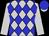Silver and blue diamonds, silver sleeves, blue cap, silver peak (Mr G D E Kahan)