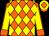 Orange and yellow checked diamonds, yellow sleeves, orange seams and cuffs, yellow cap, orange diamond and peak (Mr M G De Agrela)