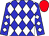 Blue and white checked diamonds, red cap (Mr And Mrs Rob Pickering T/A Middlefield Stud)