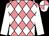 Shocking pink and white checked diamonds, white sleeves, quartered cap (Les Belles Syndicate (nom: Mrs M L Kannemeyer))