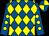 Royal blue and yellow diamonds, royal blue sleeves, yellow spots, quartered cap (K Squance & K D Crabb)