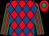 Red and royal blue diamonds, emerald green and red striped sleeves, red cap, emerald green diamond (Derek & Cheryl Holder)
