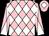 Pink and white diamonds, diabolo on sleeves, pink cap, white diamond (Mr Justin Hay)