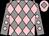 Grey and pink diamonds, grey sleeves, pink spots, pink cap, grey diamond (Mr J K Price)