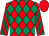 Red & emerald green diamonds, striped sleeves, red cap (R A Pegum & A Oliver)
