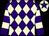 Purple & beige diamonds, hooped sleeves, beige cap, purple star (J L Brady)