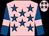Pink, royal blue stars, royal blue sleeves, pink armlets (Mrs Christine Susan Baylis)