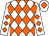 White & orange diamonds, white cap, orange diamond (Martin Lanney & Mrs Pauline McCourt)