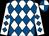 White & royal blue diamonds, quartered cap (Killeedy Syndicate)