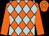 Orange & light blue diamonds, orange sleeves, orange cap, light blue diamonds (Kings Syndicate)