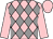 Pink & grey diamonds, pink sleeves & cap (T Egan)