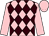 Pink and brown diamonds, pink sleeves and cap (Antell, Coles & Finch)