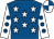 Royal blue, white stars, white sleeves, royal blue spots, royal blue and white quartered cap (A Killoran)