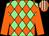Light green & orange diamonds, orange sleeves, orange & white striped cap (Swings & Roundabouts Syndicate)