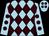 Light blue & brown diamonds, brown spots on sleeves, light blue cap, brown spots (J J Dunne & Michael Allen)