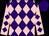 Purple and pink diamonds, pink sleeves, purple diamonds, purple cap (Mr & Mrs Paul Gaffney)