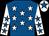 Royal blue, white stars, white sleeves, royal blue stars, white cap, royal blue star (D F O'Shea)