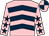 Pink, dark blue chevrons, pink sleeves, dark blue stars, quartered cap (Mr J W Clark)