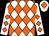 White & orange diamonds, white cap, orange diamond (Martin Lanney)