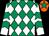 Emerald green & white diamonds, white sleeves, emerald green chevrons, orange cap, emerald green star (F M Hanley)