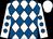 White and royal blue diamonds, white sleeves, royal blue spots, white cap (Mr J Winzer)