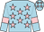 Light blue, pink stars, armlets and stars on cap (Mr Andrew Nicholls)