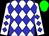 White body, blue diamonds, white arms, blue diamonds, green cap (Ta Killoran/m Peppard/mme L Carb)