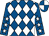 Royal blue and white diamonds, royal blue sleeves, white stars, quartered cap (Pipe - Dreaming Ladies)