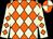 Orange and beige diamonds, beige sleeves, orange diamonds, orange and beige quartered cap (Mr Nigel Holder)