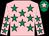 Pink, emerald green stars, emerald green cap, pink star (Mrs Orla Murtagh)