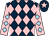 Dark blue and pink diamonds, pink sleeves, light blue diamonds, dark blue cap, pink star (Mrs Yvonne Fleet)