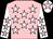 Pink, white stars, white sleeves, pink stars, white cap, pink star (Mrs Aoife Henry)