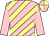 Pink, primrose diagonal stripes, pink sleeves, quartered cap (Ramona Bass)