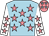 Light blue, shocking pink stars, white sleeves, shocking pink stars and cap,light blue stars (Mrs J Sheik)