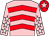 Pink, red chevrons, pink sleeves, white stars, red cap, pink star (Mrs Barbara Hester)