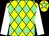 Yellow and light green diamonds, white sleeves, yellow cap, light green star (Mrs Ann Binns)