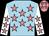 Light blue, shocking pink stars, white sleeves, shocking pink stars and cap,light blue stars (Mrs J Sheik)