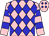 Cerise and royal blue diamonds, cerise sleeves, two blue hoops, cerise and blue cap (Tri County Stables)
