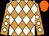 Neon orange, white diamonds, white diamonds on sleeves, orange cap (Plead The Fifth Stable)