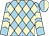 Light blue and beige diamonds, beige chevrons on light blue sleeves, light blue and beige halved cap (Let's Go Stable)