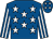 Royal blue, white stars, striped sleeves and stars on cap (S & A Mares & R Gray)