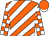 Orange and white diagonal stripes, checked sleeves, orange cap, white peak (Mr Nelson Govender & Mrs Priscilla Govender)