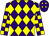 Purple and yellow diamonds, checked sleeves (Mr H Thornton)