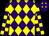 Purple and yellow diamonds, checked sleeves (Mr H Thornton)
