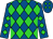 Royal blue, lime diamonds (Rsl Racing Stable)