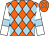 Orange and light blue diamonds, white sleeves, light blue armlets (The Alshan Fajer Partnership)