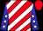 Red & white diagonal stripes, white stars on blue sleeves (Linda Parker)
